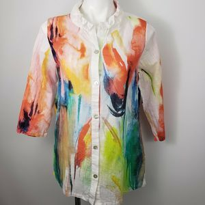 Soft Surroundings Med Watercolor Isla Grande Shirt